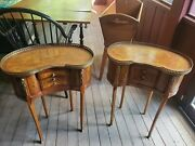 Louis Xv Style Kingwood And Marquetry 3 Drawers Pair Of Side Tables Antique