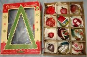 Lot 12 Vtg Antique Hearts And Houses Christmas Ornaments Shiny Brite Mercury Glass