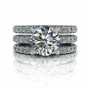 2.05 Ct Real Diamond Engagement Ring Solid 14k White Gold Band Sets 8 6 5.5