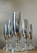 Asprey Solid Silver 6 Cups Goblets Champagne Flutes
