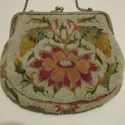 Stunning Antique French Silver Chain Beaded Purse Bright Colours Perfect