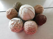 Lot Of 7 Rag Balls - Circumference Range Of 9.5 Inches - 13.5 Inches Art Decor