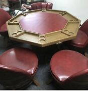 Vintage Barrel Poker/diningandnbsp Solid Wood Table And 5 Solid Wood Swivel Chairs