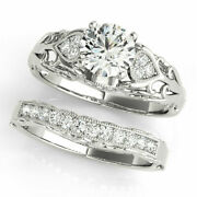 Round 0.95 Carat Diamond Wedding Band Sets For Her 14k White Gold Size 5 6 7 8 9