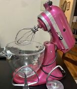 Raspberry Ice Kitchenaid Mixer With Attachments And Glass Mixing Bowl