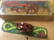 1950s J. Chein No. 172 Pressed Tin Litho Mechanical Chipper Chipmunk - Boxed -