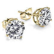2.03 Ct 14k Yellow Gold Diamond Earrings Solitaire Friction Back D I2 28851380