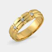 0.14 Ct Round Cut Natural Diamond Band Menand039s Rings Real 14k Yellow Gold All Size