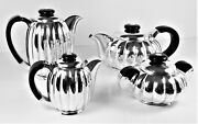 Tea Set Four Pieces Solid Silver Antique In Very Good Conditions