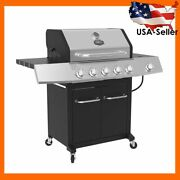 5-burner Propane Gas Grill With Side Burner Wheels Barbecue Outdoor Cooking