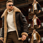 Mens Pu Leather Coats Fur Lined Lambwool Jacket Warm Thicken Motorcycle Plus 5xl