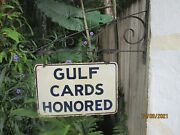 Vintage Gulf Credit Card Porcelain Double-sided Oil Gas Sign With Bracket Shell