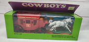 Vintage Cowboys Stage Coach Action Model Plastic Toy Express Mail Wagon