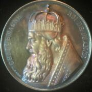 1839-armand Auguste Caque Sc. Charlemagne Medal Silver 51.9mm Awesome Toning