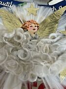 Vtg National Tinsel Co Angel Hair Spun Glass And Paperboard Christmas Tree Topper