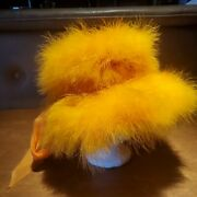 1960s Vintage Hat Happy Cappers Orange Marabou Feathers W Bow 21-22 Cocktail