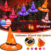 8pcs Led Halloween Witch Hats String Lights Hanging Glowing Craft Party Decors