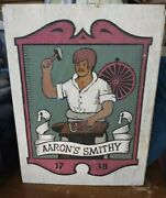 Rare Vintage Antique Aaronand039s Smithy 1738 Primitive Hand Painted Framed Wood Sign