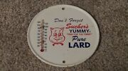 Vintage Sucherand039s Pure Lard Metal Painted Advertising Thermometer Nice One