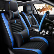 Luxury Pu Leather Car Seat Covers, Full Set Front And Rear W/ Steering Wheel Cover