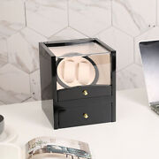 Watch Winder Display Box Automatic Rotation Storage 2 2 Grids Wooden Cases New