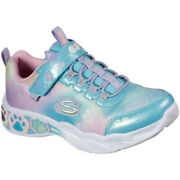 Skechers Girls Lil Bobs Pretty Paws Light Up Lace Up Shoes