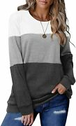 Crazy Grid Womenandrsquos Long Sleeve T Shirt Color Block Pullover Crew Neck Loose Comf