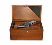 Starrett 6 Piece Outside Micrometer Set In Wooden Box, Sizes 1 To 6