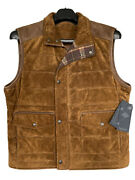 Suede Leather Vest Roundtree And Yorke Full Zip Up Menand039s Large New 295 Nwt Brown