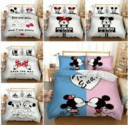 Minnie Mickey Mouse Duvet Cover Set Twin/full/queen/king Size Bedding Pillowsham