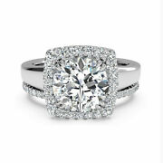 Round Halo 0.80 Ct Real Diamond Solid 14k White Gold Engagement Band Set Size 7