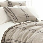 Pine Cone Hill Farm House Plaid Linen Duvet Cover And Euro Shams Never Used 740