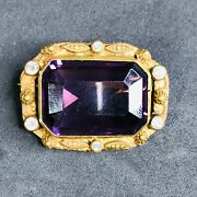 Antique 19th C. Victorian Brass And Amethyst Faceted Glass Collar Pin Or Brooch