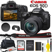 Canon Eos 90d Dslr Camera With 18-135mm Lens With Padded Case, Memory Card, And