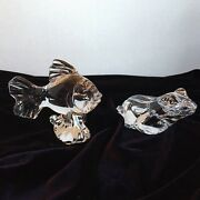 Princess House Frog And Goldfish Figurines - Lead Crystal Made In Germany