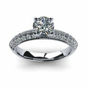 Solid 18k White Gold Band 1.00 Ct Round Real Diamond Engagement Ring Size 5 7 9