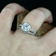 1.00 Carat Real Diamond Engagement Ring Solid 18k White Gold Band Set Size 5 6 7