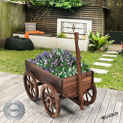Rustic Garden Planter Solid Wood Farmhouse Flower Plant Box Wooden Country Style