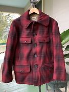 Vintage Hw Carter 40andrsquos 50andrdquos Plaid Mackinaw Hunting Jacket Size 42 L/xl.