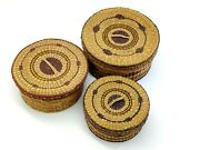 Vintage Hand Woven Baskets With Lids Sweet Grass Nesting Geometric Pattern