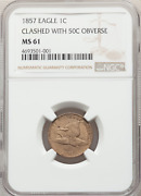 1857 Flying Eagle Cent, Obverse Die Clash With Seated Half, Ngc Ms61, Fs-402,s-9