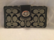 Authentic Coach Signature Black Turnlock Checkbook Wallet 43613 - New With Tags