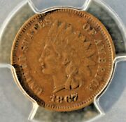 1867/67 Indian Cent Pcgs Xf40 S-1 Major Variety Re-punched Date
