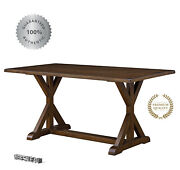 Solid Wood Dining Room Table Rustic Brown Country Style 6 Person Farmhouse New