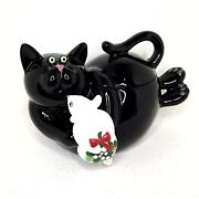 Rare Department 56 Black Cat Mouse Christmas Cookie Jar Container