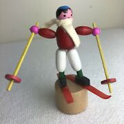 Vintage Push Puppet Skier Wooden Wood Lucite Toy Made In Italy Thumb Finger