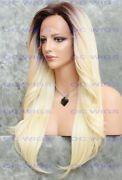Long Straight Heat Ok Lace Top Human Hair Blend Wig Light Blonde Rooted Evee