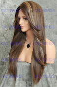 Long Straight Heat Ok Lace Front/top Human Hair Wig Light Brown/blonde Evee