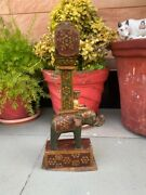 Ancient Old Wooden Hand Carved Painted Elephant Ride Man Figurine Stand Pillar