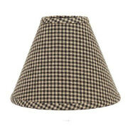New Primitive Country Farmhouse Black Gingham Checked Lamp Shade Clip On 12